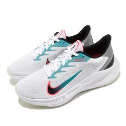 Nike 慢跑鞋 Zoom Winflo 7 運動 女鞋 氣墊 舒適 避震 路跑 健身 球鞋 白 綠 CJ0302102 [ACS 跨運動]