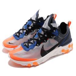 Nike 慢跑鞋 React Element 87 男鞋 輕量 透氣 避震 透明鞋面 運動 灰 藍 橘 AQ1090004 [ACS 跨運動]