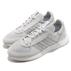 adidas 休閒鞋 Marathon Tech 復古 男女鞋 海外限定 愛迪達 三葉草 麂皮 情侶穿搭 灰 白 EF0322 [ACS 跨運動]