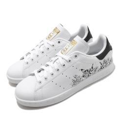 adidas 休閒鞋 Stan Smith 復古 低筒 女鞋 愛迪達 三葉草 老人頭 花草 穿搭 皮革 白 黑 FX3596 [ACS 跨運動]