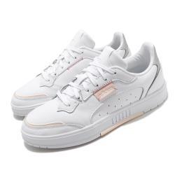 adidas 休閒鞋 Kollide 復古 低筒 女鞋 愛迪達 三葉草 皮革鞋面 穿搭 上學 白 粉 FX9044 [ACS 跨運動]
