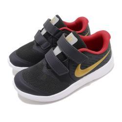 Nike 慢跑鞋 Star Runner 2 運動 童鞋 輕量 透氣 舒適 避震 魔鬼氈 小童 黑 金 AT1803010 [ACS 跨運動]