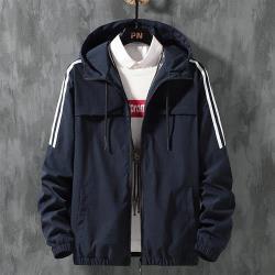 【米蘭精品】防風外套連帽夾克-純色條紋寬鬆短版男外套4色73zi14