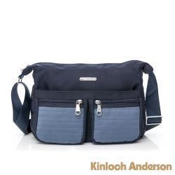 【金安德森】Sussex 線性壓紋雙口袋多夾層斜側包-藍色