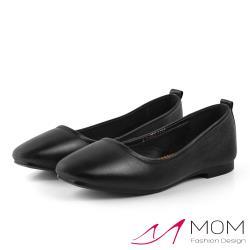【MOM】真皮頭層牛皮舒適小方頭經典低跟便鞋 黑