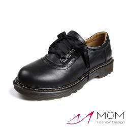 【MOM】真皮復古布洛克雕花綁帶造型手工縫線文藝休閒鞋 黑