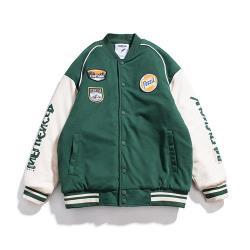 【米蘭精品】棒球外套立領夾克-拼色胸章字母復古3色73zj18