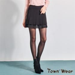 【TOWN'WEAR 棠葳】雙層網紗壓褶短裙-內裡小短褲