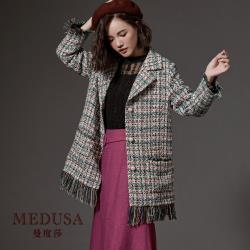 現貨【MEDUSA 曼度莎】混織流蘇毛邊羊毛大衣 / 長版大衣 / 毛呢大衣