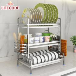 LIFECODE[收納王]304不鏽鋼三層方管碗碟架附筷子籠+砧板架