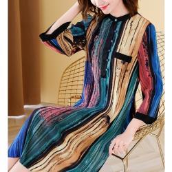 伊凡莎名媛時尚-歐潮藝術彩繪條紋壓褶修身洋裝