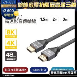 Kamera 超越4K等級,極強規格48Gbps 8K@60Hz影音訊號傳輸線 HD HDMI 2.1 cable【1.5m】