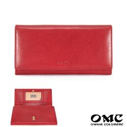【OMC】16卡1照植鞣革多夾層牛皮長夾-紅色