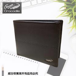 (Crocodile)鱷魚 經典真皮男夾 短夾 6卡短皮夾 (0203-36042-咖啡)