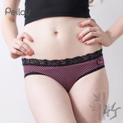 任-【PEILOU】貝柔蕾絲無縫中/低腰三角褲-小花紫紅