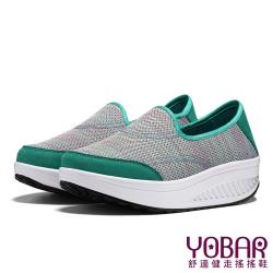 【YOBAR】學院風3D立體飛織美腿搖搖鞋 綠