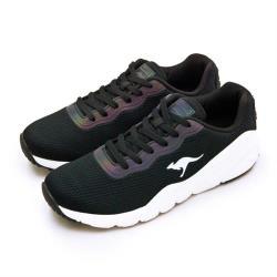 【KangaROOS】男 輕量編織幻彩反光慢跑鞋 RUN SWIFT藍標系列(黑米 91081)