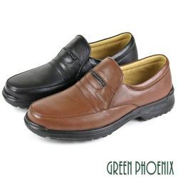 GREEN PHOENIX 簡約穩重編織直套式全真皮平底休閒皮鞋(男鞋)T9-12982