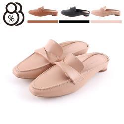 【88%】2cm跟鞋 MIT台灣製 優雅氣質百搭一字扭結 皮革方頭低跟穆勒鞋 半包鞋 懶人鞋 OL上班族