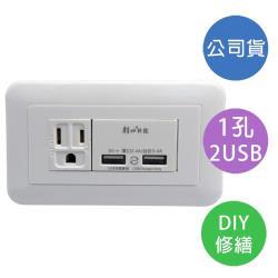 【雙日】Double Sun 埋入式 雙USB+單接地 插座組 1入(P-USB-UR012)