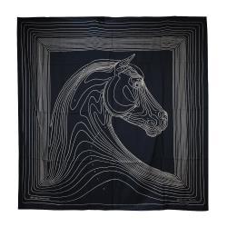 Hermes Pegase Paysage shawl 馬兒圖線真絲披肩(黑色)