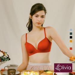 Olivia【曖昧系列-冰淇淋戀人】無鋼圈飽和純度PLUS+一片式內衣-西瓜紅