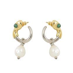 CHLOE 經典C LOGO珍珠造型垂飾耳環.銀