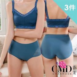 【CHANMODE 香茉】輕薄蕾絲立體臀杯內褲3件組(深色款)