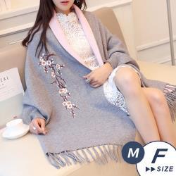 【LANNI 藍尼】現+預 韓版繡花披肩針織斗篷(斗篷/披肩)