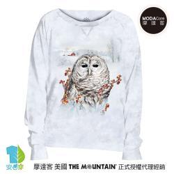 摩達客 預購-美國進口The Mountain 秋之貓頭鷹 女版船型領休閒長袖T恤