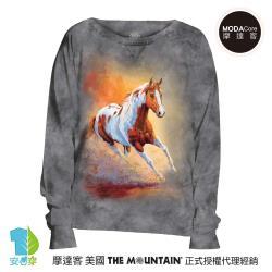 摩達客 預購-美國進口The Mountain 日落馳騁馬 女版船型領休閒長袖T恤