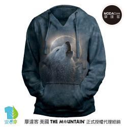 摩達客 預購-美國進口The Mountain 日蝕狼嚎 女版V領長袖連帽T恤