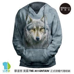 摩達客 預購-美國進口The Mountain 勇戰之狼 女版V領長袖連帽T恤