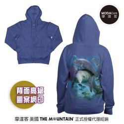 摩達客 預購-美國進口The Mountain 棲息海牛群 女版長袖連帽外套