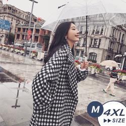 【LANNI 藍尼】現+預 日系氣質千鳥格毛呢大衣(毛呢/外套/大衣/格紋/大尺碼)