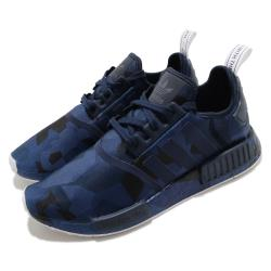 adidas 休閒鞋 NMD R1 襪套式 女鞋 海外限定 愛迪達 三葉草 緩震 Boost 藍 黑 EF4264 [ACS 跨運動]