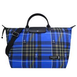 LONGCHAMP GREEN DISTRICT系列格紋帆布短把兩用旅行袋(大/藍)