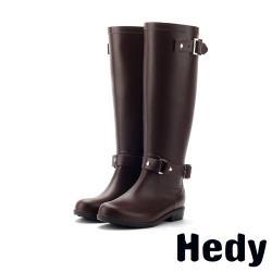 【Hedy】個性韓版釦飾時尚高筒防滑耐磨雨靴 棕
