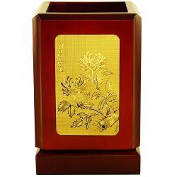 [開運陶源] 文具[筆筒]~四君子(梅蘭竹菊) 飾金金箔畫禮物