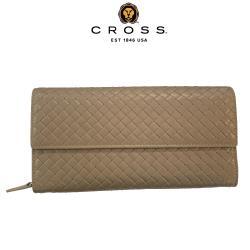 【CROSS】頂級NAPPA小羊皮編織紋鈕扣拉鍊長夾(鴿子灰 附贈原廠送禮提袋)