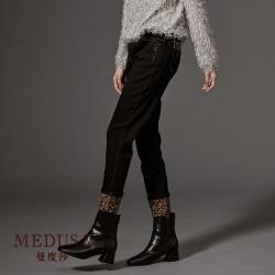 現貨【MEDUSA】豹紋壓線純棉合身長褲 / 高彈性牛仔褲 / 套裝褲