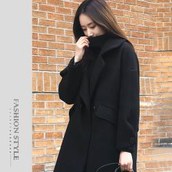 【GF 快時尚】簡約素色大翻領毛呢大衣(S-2XL)