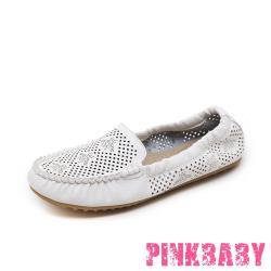 【PINKBABY】足弓機能軟底豆豆透氣沖孔可折疊便攜樂福鞋 蛋捲鞋 白