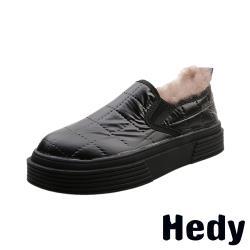 【Hedy】金屬亮面布格子車線內毛絨保暖厚底樂福鞋 黑