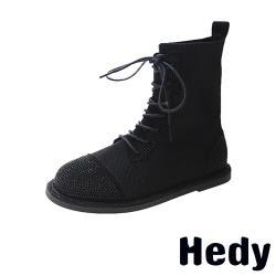 【Hedy】舒適低跟個性華麗燙鑽拼接復古馬丁靴 黑