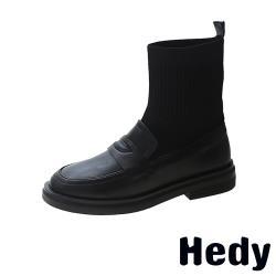 【Hedy】復古一字帶飾飛織襪套拼接粗跟中筒靴 A款素面