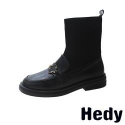 【Hedy】復古一字帶飾飛織襪套拼接粗跟中筒靴 B款四葉草