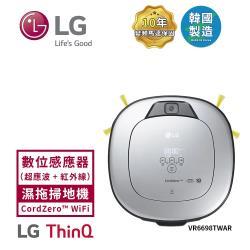 買1送5萬元好禮【LG樂金】CordZero WiFi濕拖清潔機器人(三眼) 鏡面銀 VR6698TWAR