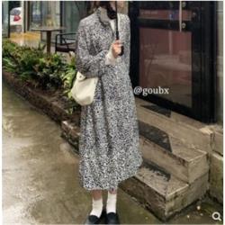 酷豹紋褶皺中長款連衣裙