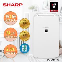 SHARP夏普 6L自動除菌離子除濕機 DW-L71HT-W